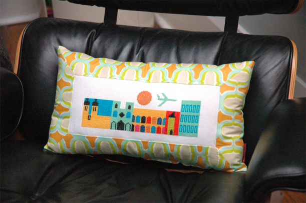 retro city pillow