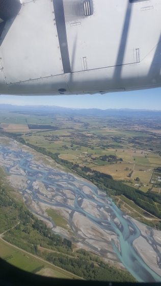 21/12 - in a pencil plane, overlooking the Rakaia River. Very low levels...