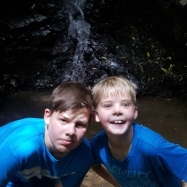 Zac & Mase at a waterfall