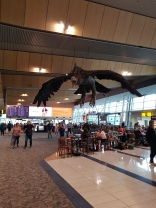 Gandalf & an eagle, Wellington Airport cafe